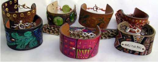 Цветные браслеты из кожи своими руками
