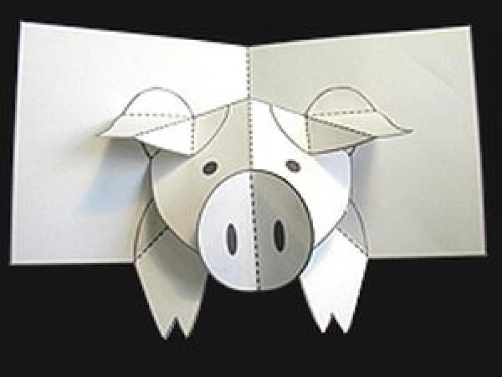 Поздравления днем, объемная открытка свинка